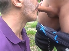 Drinking his piss and cum outside (hd)